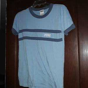 PINK light Blue Shirt Sleeve Top Size XS
